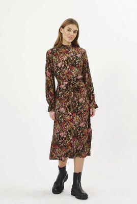 lange jurk met gevlekte print en ceintuur chalotthea 7251