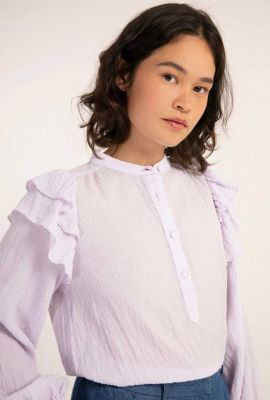 lila blouse met wafel dessin en volants charme