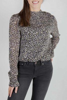 zwarte top met hoge hals en witte print jossie blouse w20.57.1546