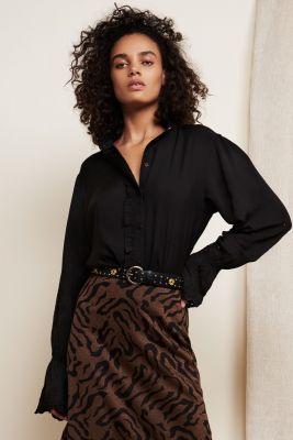 blouse met uitlopende mouwen en ajour details clara blouse
