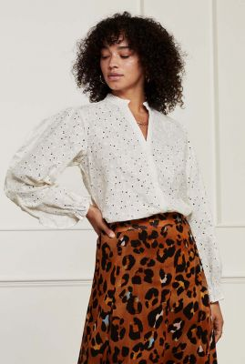 off-white broderie blouse met ballonmouwen filippa blouse