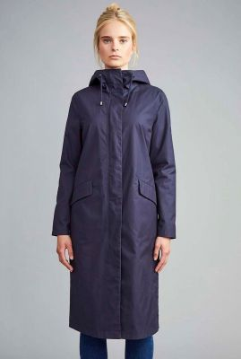donker blauwe parka jas met capuchon coat colrain c048c005