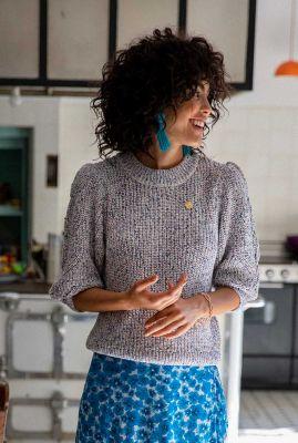 gebreide trui met ronde hals en 3/4 mouwen confetti pullover