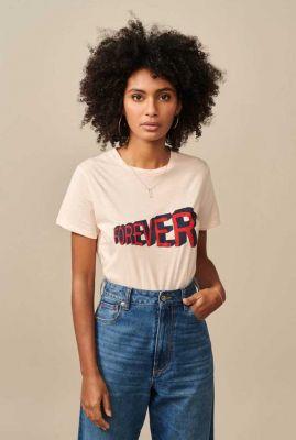 zalm roze t-shirt met tekst opdruk covi11 t1301f