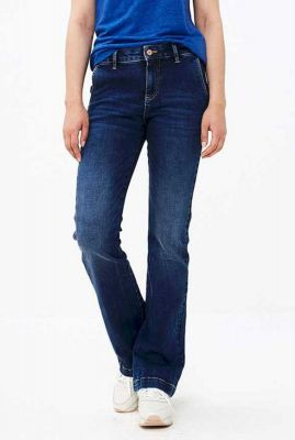 donker blauwe high waist jeans met flared pijpen t leila pant