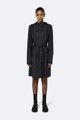 zwarte regenjas met capuchon en ceintuur curve jacket 1206