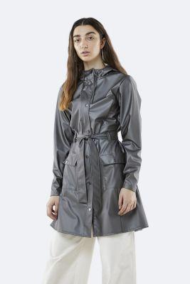 grijs metallic regenjas met ceintuur curve jacket 1206 metallic