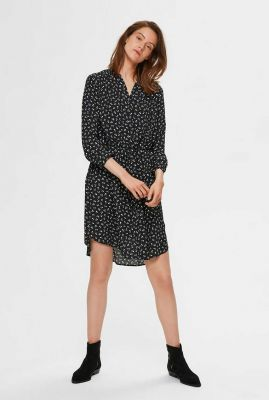 zwarte jurk met fijn bloemendessin damina dress noos 16059977