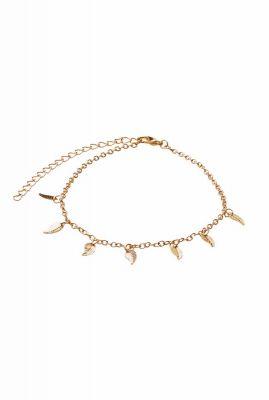 gouden enkelband met veren bedels dangling feathers anklet