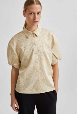 beige jacquard geweven blouse darlene short shirt 16079629