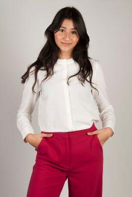 off white blouse met ruches kraag debs shirt