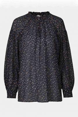 zwarte blouse met fijne bloemen print della blouse