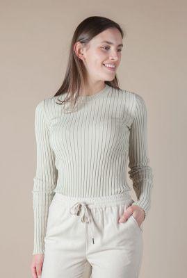 licht groene top in rib dessin dena knitted pull l/s
