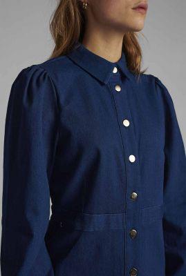 donkerblauwe denim blouse nubarbara shirt 700469