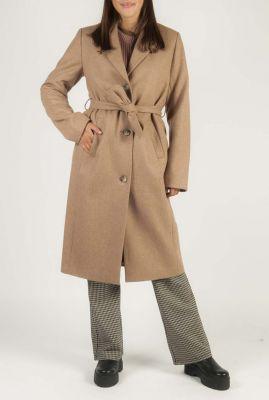 lange wollen beige jas met ceintuur dion coat