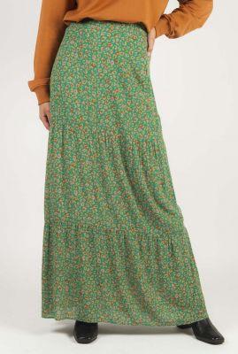 groene maxi rok met luipaard dessin dominique skirt