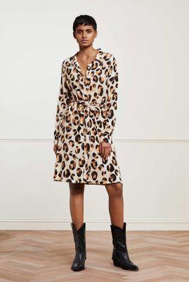 viscose blouse jurk met panter print dorien dress