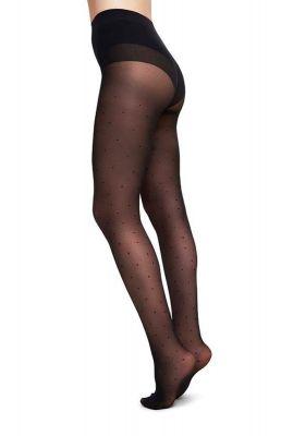 zwarte 40 denier panty met stippen dessin doris dots