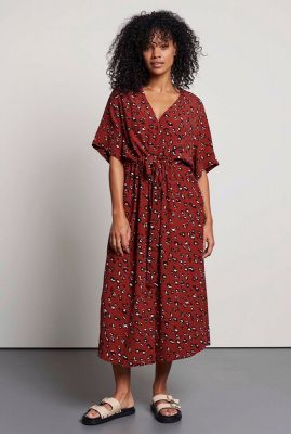 rode viscose maxi jurk met luipaard print dr clouded leopard