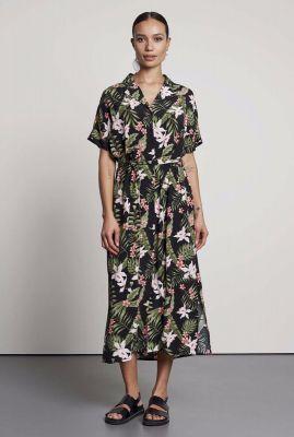 maxi jurk met bloemen en bladeren print dr paradiso
