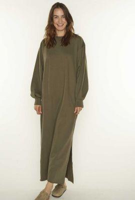 donker groene oversized sweat jurk met zijsplit ida 3053203