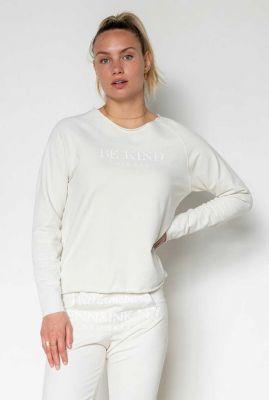 witte sweater met ronde hals en be kind opdruk s21f923ltd