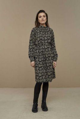 zwarte jurk met all-over bloemdessin duke grapes grey dress
