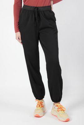 zwarte broek met elastische band en tunnelkoord dulice pants