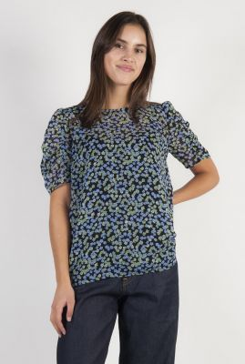 zwarte top met bloemen dessin van gerecycled polyester earl print top