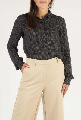 donker grijze blouse met grafische all-over print edna print shirt