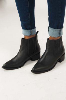 zwarte leren enkel laarzen  16066097 elena new noos