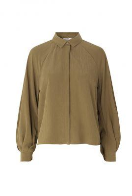 olijf kleurige zachte blouse met pofmouwen Elis