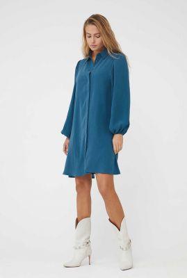 blauwe jurk met lange mouwen en klassieke kraag elli dress