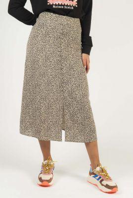 beige midi rok met luipaard dessin emily print skirt