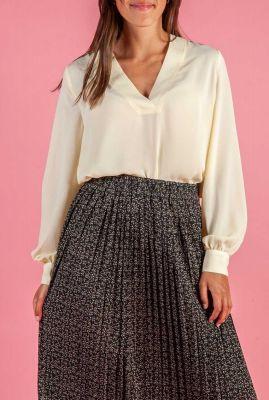 licht gele blouse met v-hals emma ls top 16073169