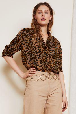 bruine viscose blouse met pofmouw en panterprint emma noa blouse