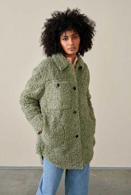 groene faux fur jas emmet12 f1954