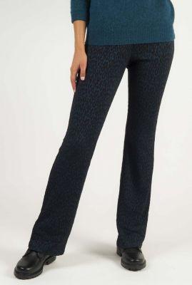 donker blauwe broek met luipaard dessin erina pants