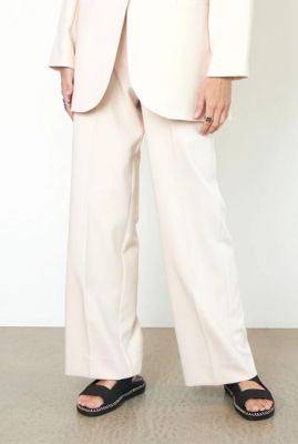 high waist beige broek evie classic trousers