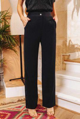 zwarte pantalon met hoge taille en licht glanzende bies evry