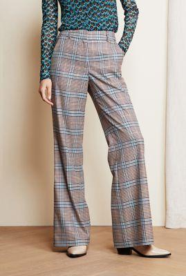 beige flared broek met ruiten dessin puck mia trouser