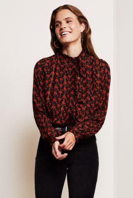 zwarte blouse met rode print en lurex detail garden isa blouse