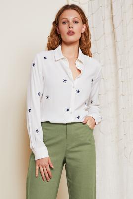 witte viscose blouse met geborduurde sterren Kitty blouse