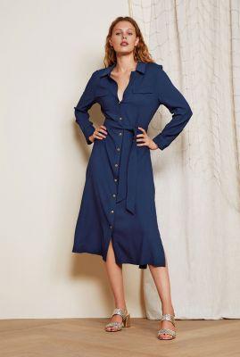 soepele donker blauwe jurk met klassieke kraag thea lou dress