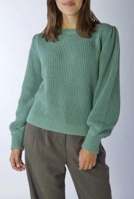 groen blauw grof gebreide trui met pofmouwen farrell