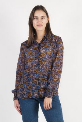 blouse met all-over bloemen print en stoffen knopen flame print shirt