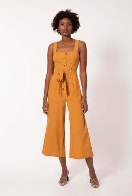 donker oranje jumpsuit met cropped pijpen maria jumpsuit