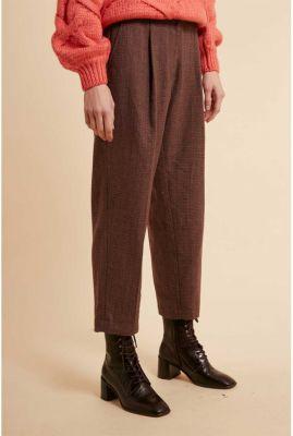 donker bruine broek met ruit dessin en plooi details pernelle