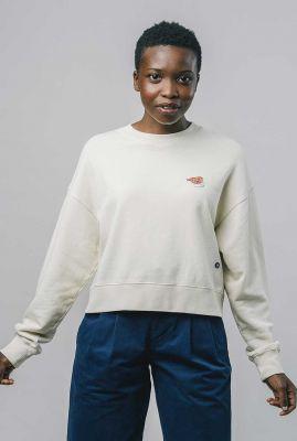 ecrukleurige sweater met broderie fugu ecru sweatshirt 2124