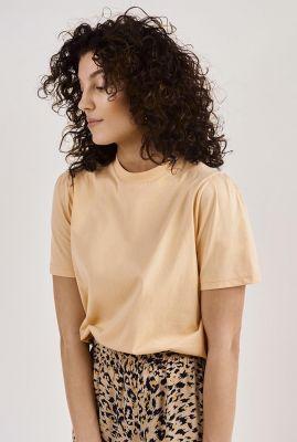 licht oranje t-shirt met kleine pofmouw gaure t-shirt s/s